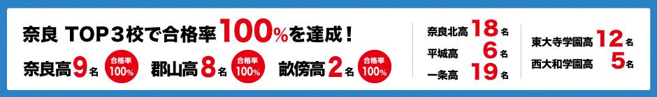 奈良TOP3校で合格率100%を達成!