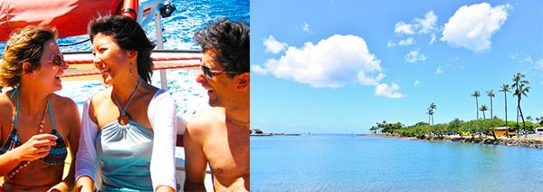 ハワイの海と空、ビーチでのおしゃべり